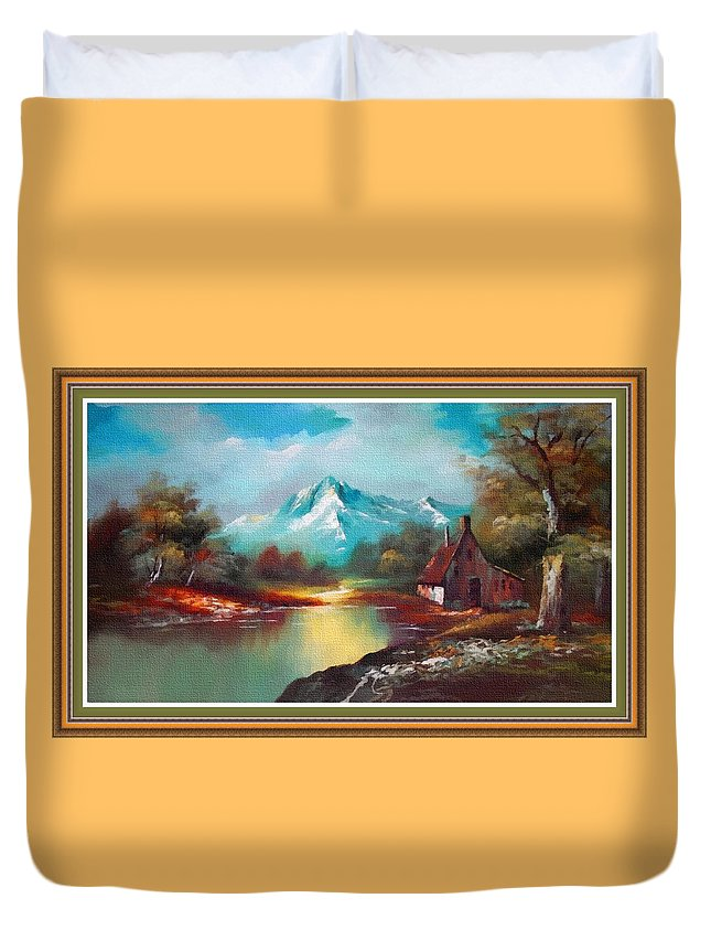 Rural Duvet Cover featuring the painting Old Shed Close To A River H B With Decorative Ornate Printed Frame. by Gert J Rheeders