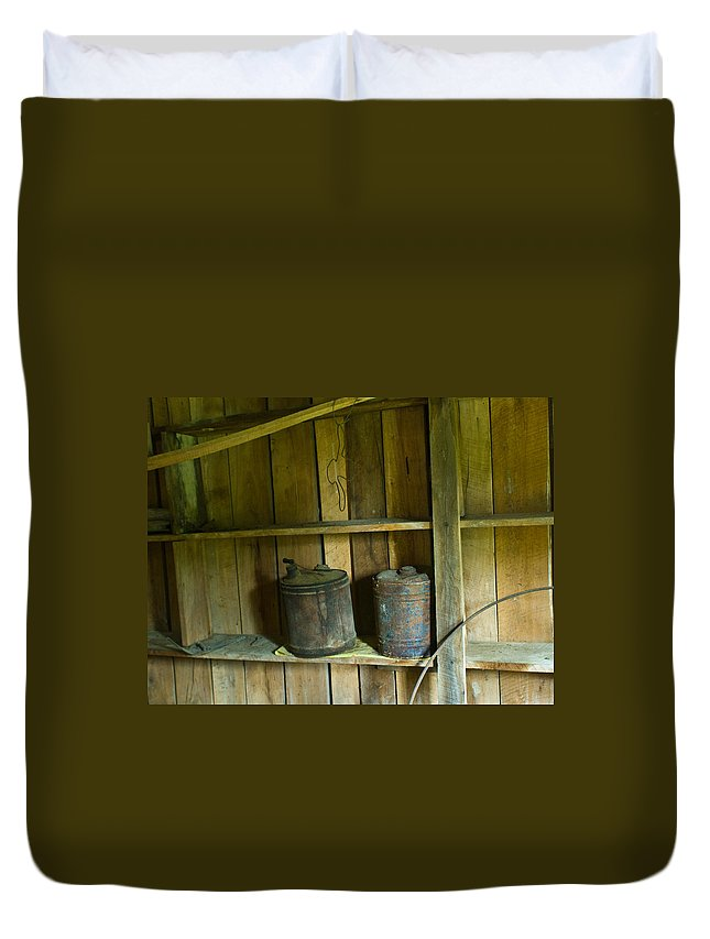 Gas Duvet Cover featuring the photograph Old Shed Storage by Douglas Barnett