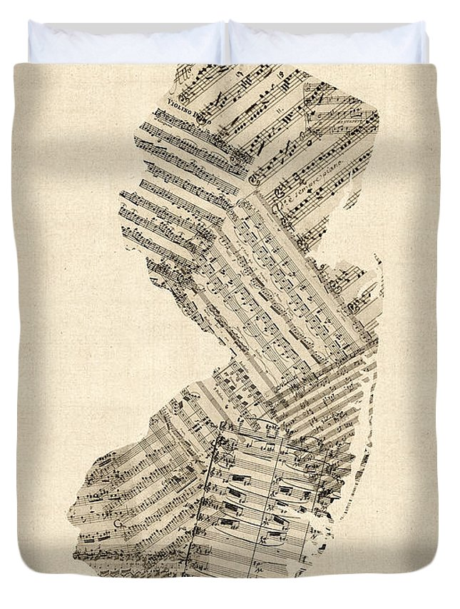 New Jersey Duvet Cover featuring the digital art Old Sheet Music Map Of New Jersey by Michael Tompsett