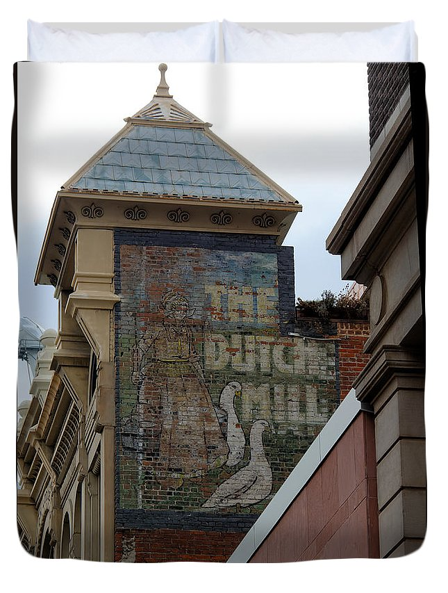 Old Sign Duvet Cover featuring the photograph Old Sign by Richard Keer