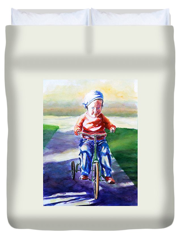 Girl Duvet Cover featuring the painting Old Soul by Shannon Grissom