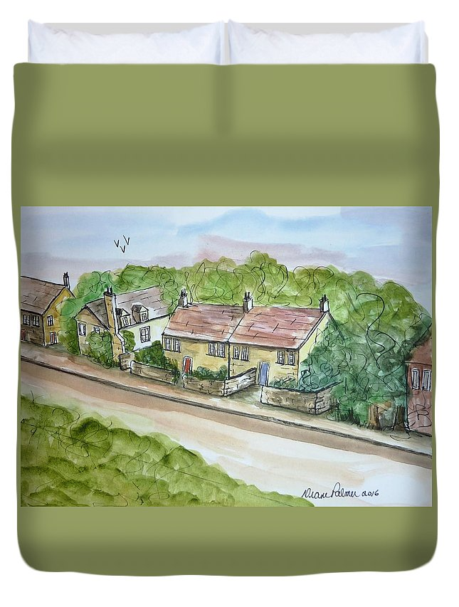 Stone House Duvet Cover featuring the painting Old Stone Buildings by Diane Palmer