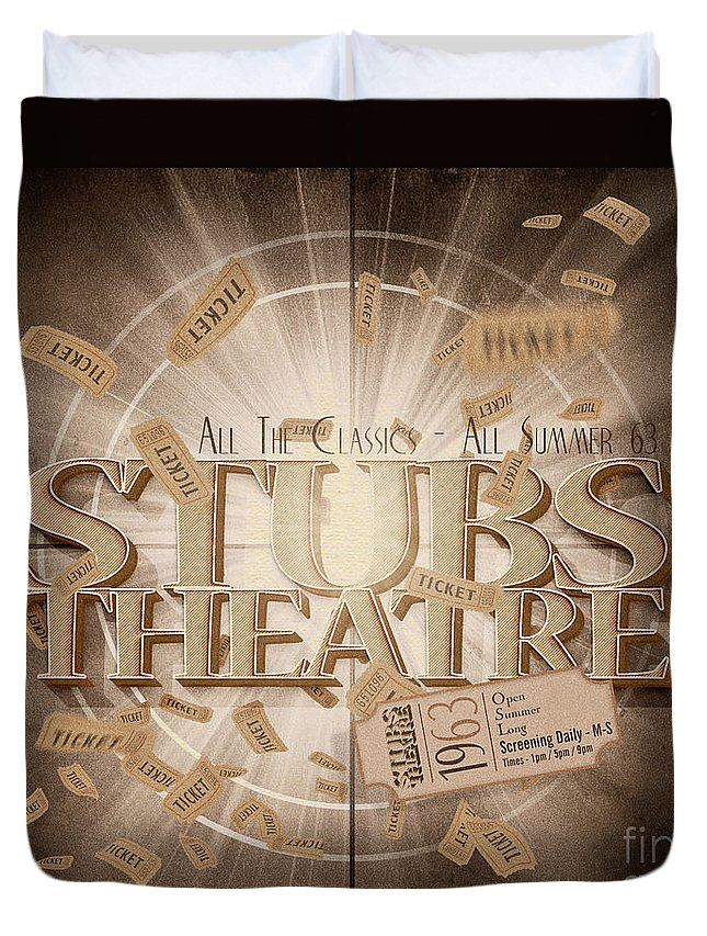 Movie Duvet Cover featuring the digital art Old Stubs Theatre Advert by Jorgo Photography - Wall Art Gallery