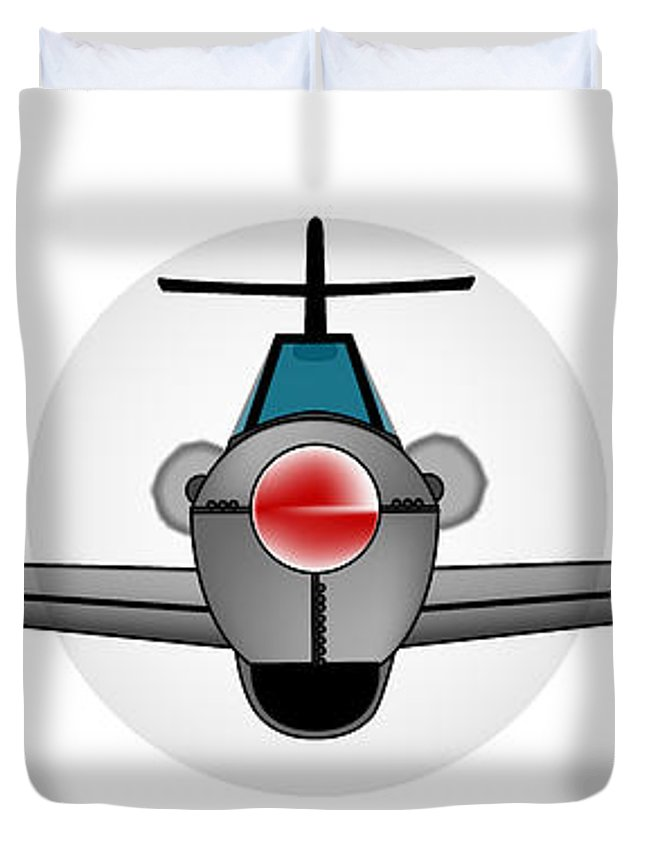 Aircraft Duvet Cover featuring the digital art Old Style Fighter Aircraft by Bigalbaloo Stock