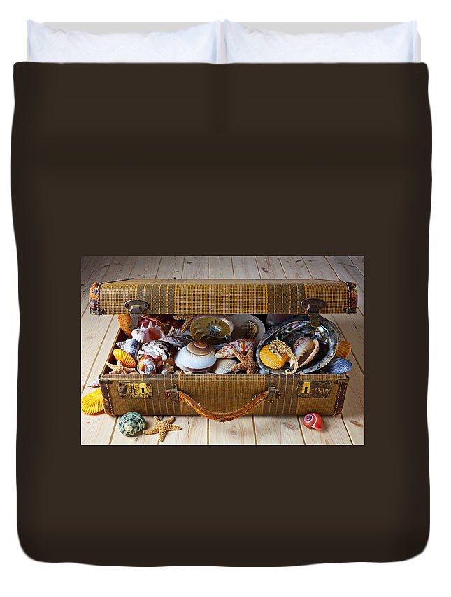 Suitcase Full Sea Shells Travel Duvet Cover featuring the photograph Old Suitcase Full Of Sea Shells by Garry Gay