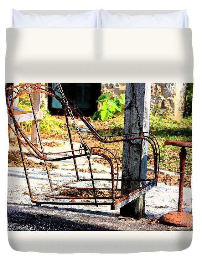 Swing Duvet Cover featuring the photograph Old Swing by Charlotte Johnson
