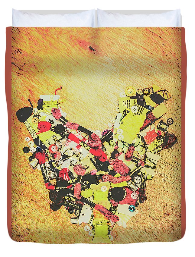 Heart Duvet Cover featuring the photograph Old Threads And Hearts by Jorgo Photography - Wall Art Gallery