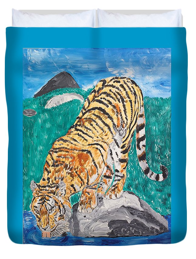 Cat Duvet Cover featuring the painting Old Tiger Drinking by Valerie Ornstein