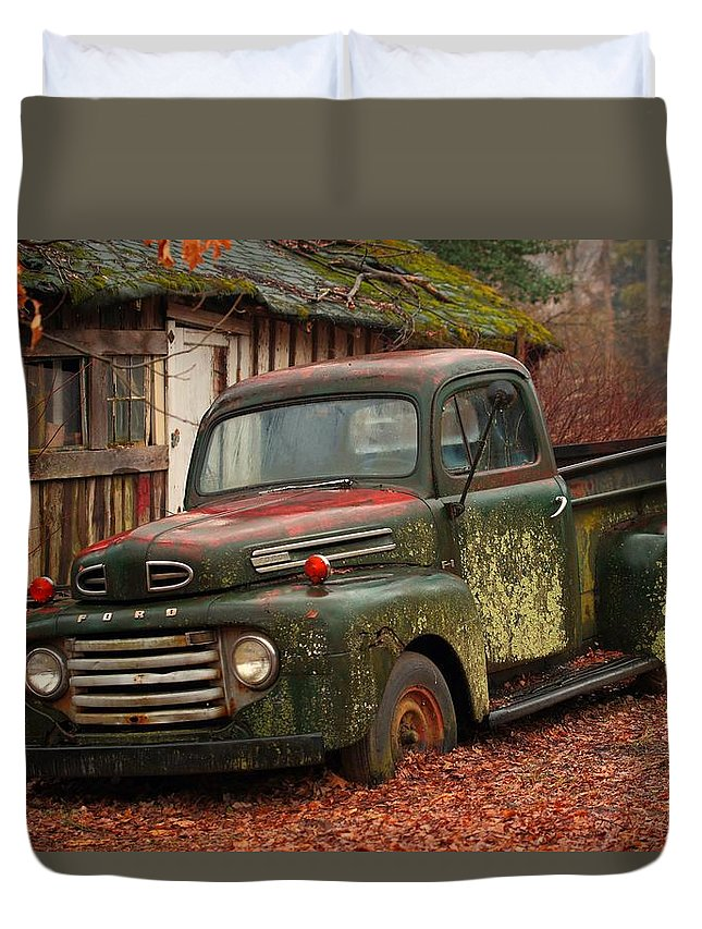 Field Duvet Cover featuring the photograph Old Timer by Scott Fracasso
