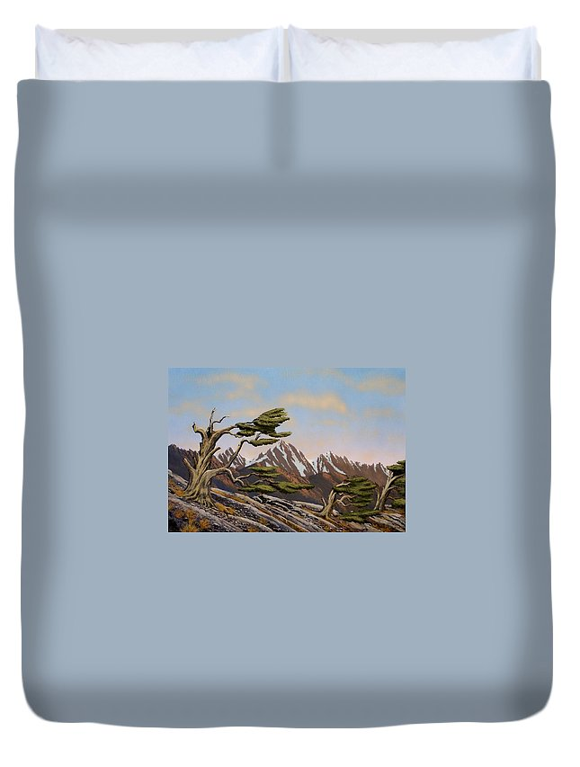 Mountains Duvet Cover featuring the painting Old Timers by Frank Wilson