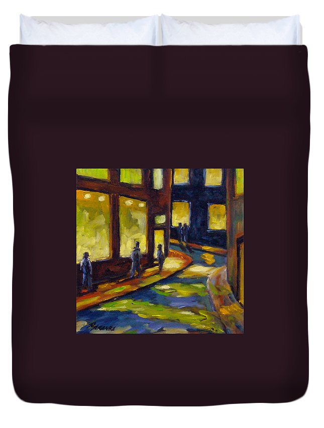 Urban; Scene; People; Night; Street; City; Scape; Love; Duvet Cover featuring the painting Old Town At Night by Richard T Pranke