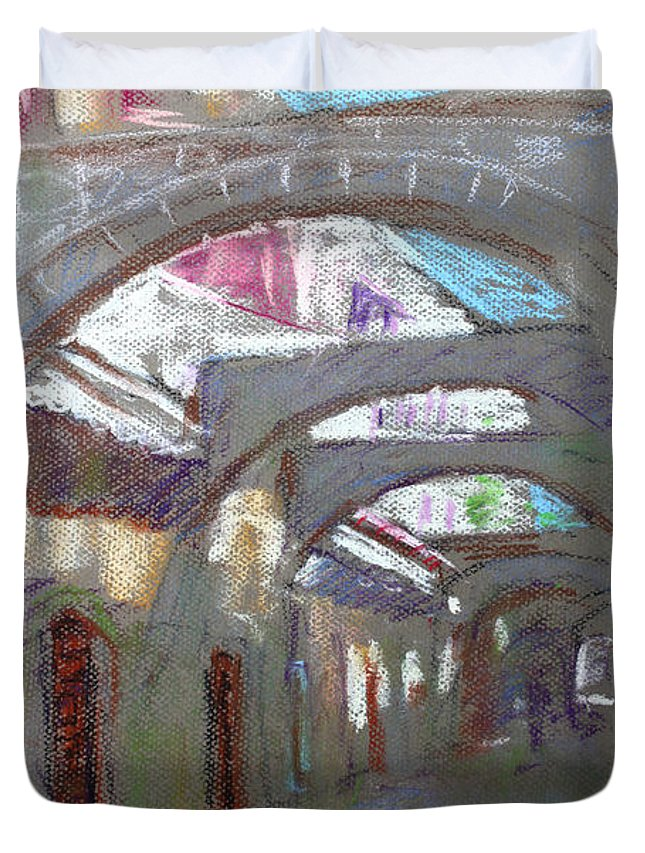 Old Town Duvet Cover featuring the pastel Old Town In Rhodes Greece by Ylli Haruni