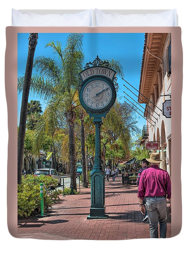 Old Town Duvet Cover featuring the photograph Old Town Santa Barbara by Joe Lach