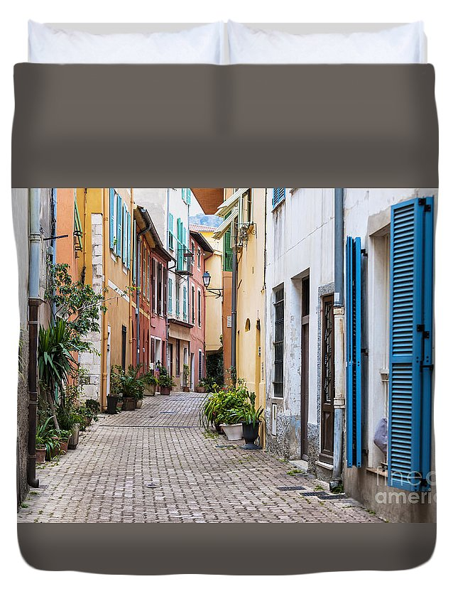 Villefranche-sur-mer Duvet Cover featuring the photograph Old Town Street In Villefranche-sur-mer by Elena Elisseeva