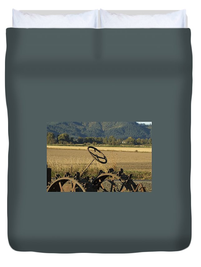 Tractor Duvet Cover featuring the photograph Old Tractor by Sara Stevenson