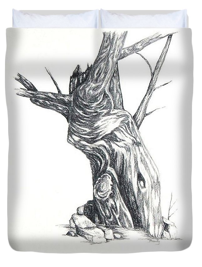 Tree Duvet Cover featuring the drawing Old Tree by Brandy House