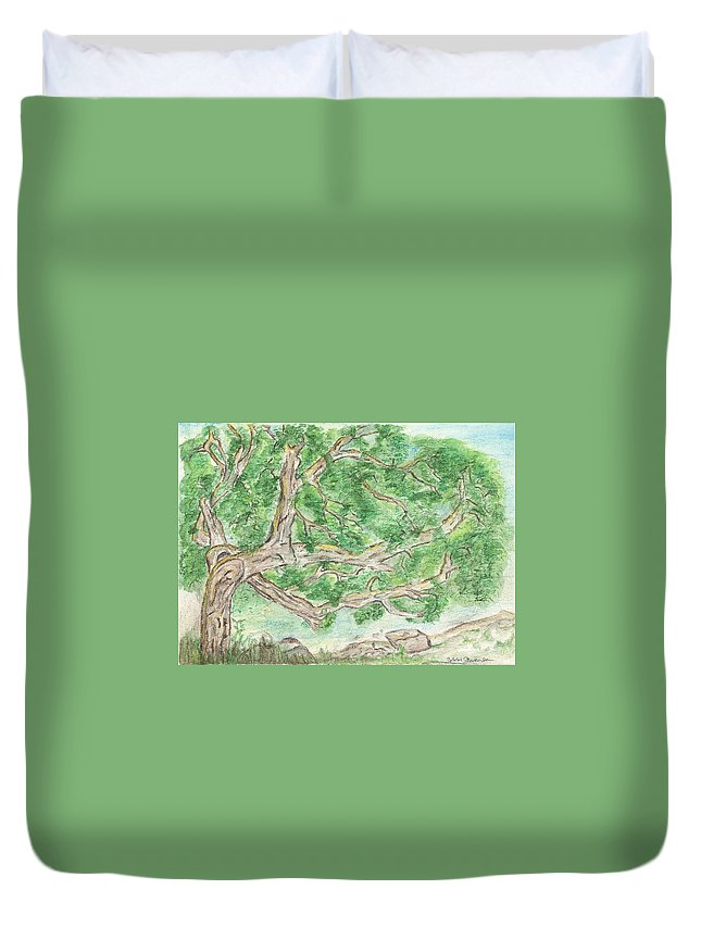Tree Duvet Cover featuring the painting Old Tree by Sara Stevenson