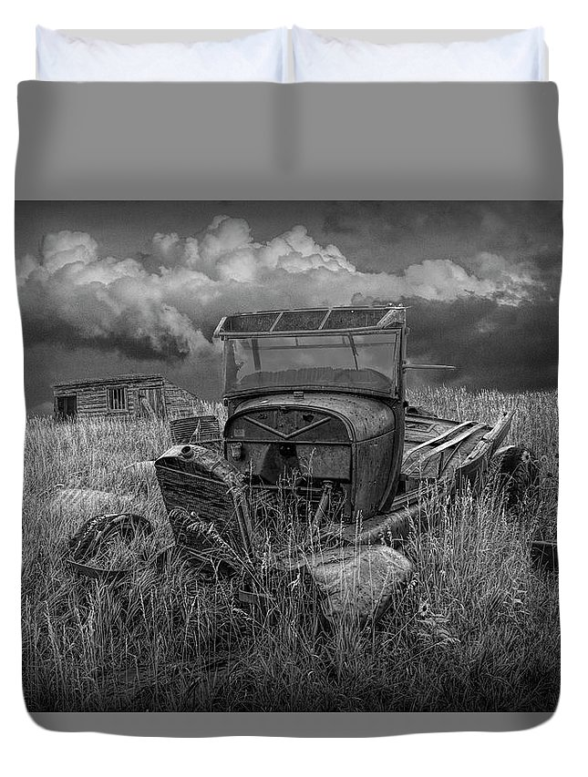 Art Duvet Cover featuring the photograph Old Truck Abandoned In The Grass In Black And White At The Ghost Town By Okaton South Dakota by Randall Nyhof