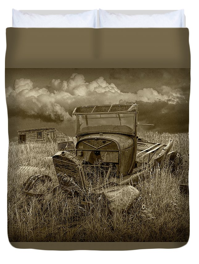 Art Duvet Cover featuring the photograph Old Truck Abandoned In The Grass In Sepia Tone by Randall Nyhof