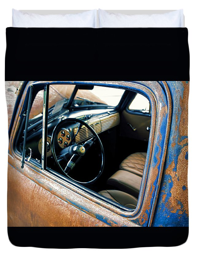 Duvet Cover featuring the digital art Old Truck Rusty by Cathy Anderson