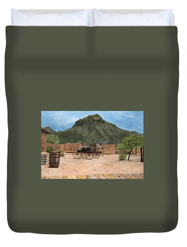 Art Duvet Cover featuring the painting Old Tucson by Mary Rogers