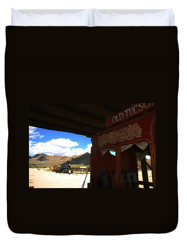 Old Tuscon Duvet Cover featuring the photograph Old Tuscon Stage Coach And The Reno by Susanne Van Hulst
