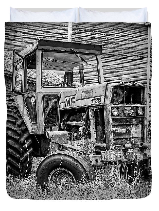 Barn Duvet Cover featuring the photograph Old Vintage Tractor On A Farm In New Hampshire Square by Edward Fielding