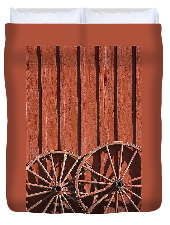 Wheel Wheels Wagon Old Red Barn Antique Past History Rural Country Duvet Cover featuring the photograph Old Wagon Wheels IIi by Andrei Shliakhau