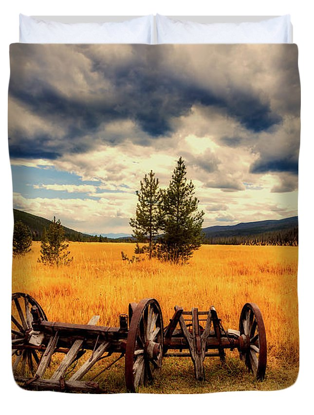 Old Duvet Cover featuring the photograph Old Wagons In Meadow by Mountain Dreams