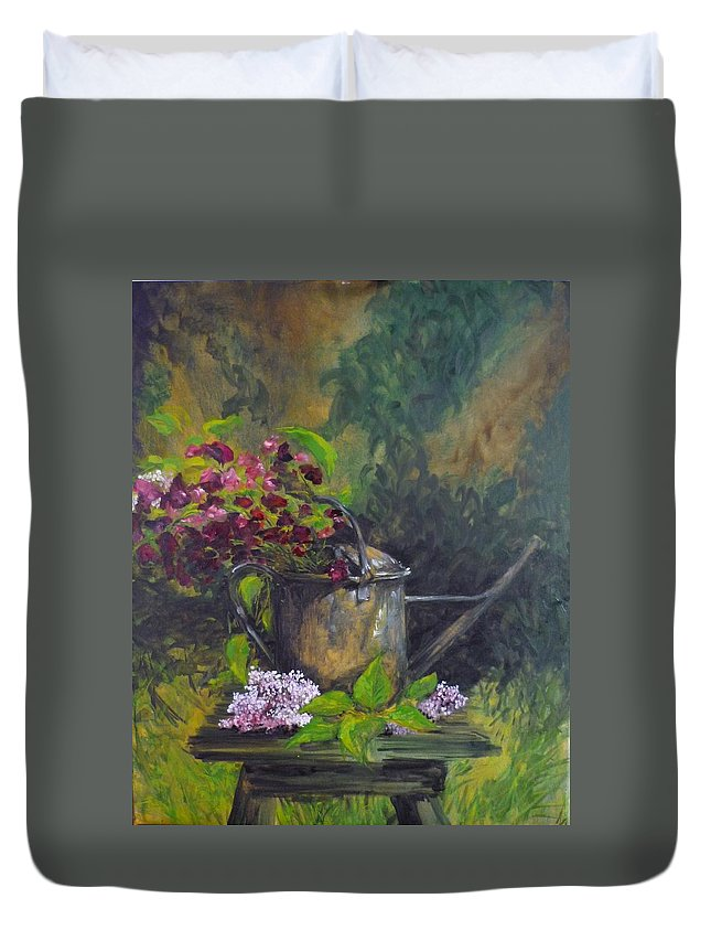 Flowers Duvet Cover featuring the painting Old Watering Can by Lizzy Forrester
