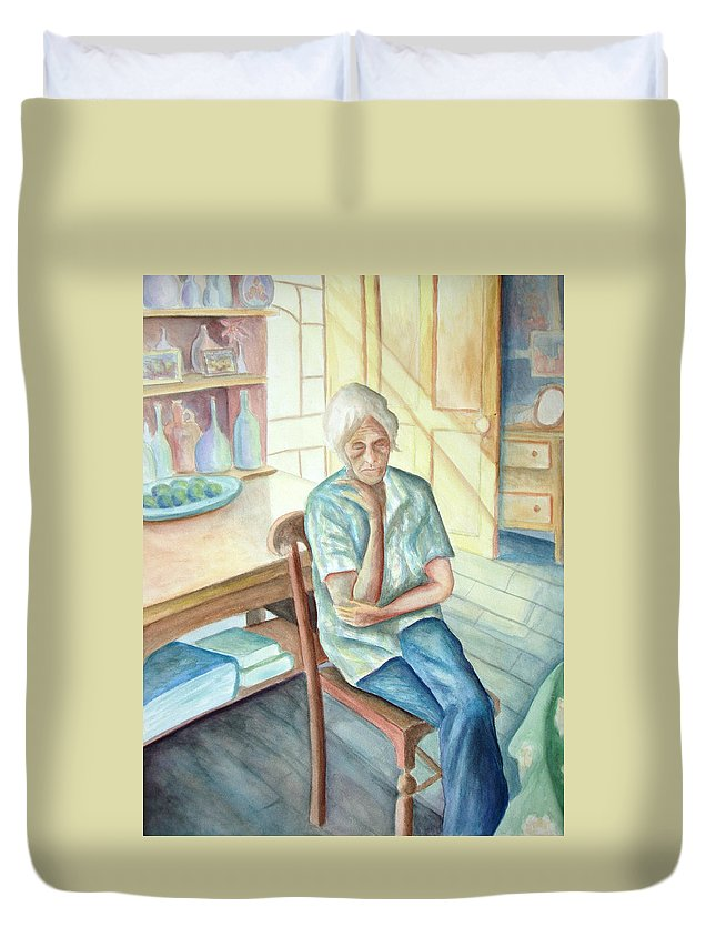 Woman Duvet Cover featuring the painting Old Woman by Nancy Mueller