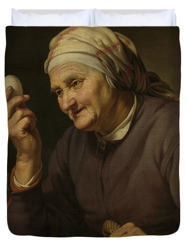 Active Duvet Cover featuring the painting Old Woman Selling Eggs, 1632 by Hendrick Bloemaert