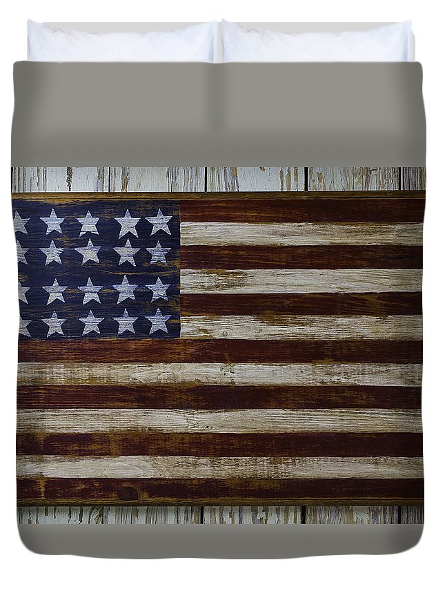 Old Wooden American Flag Duvet Cover
