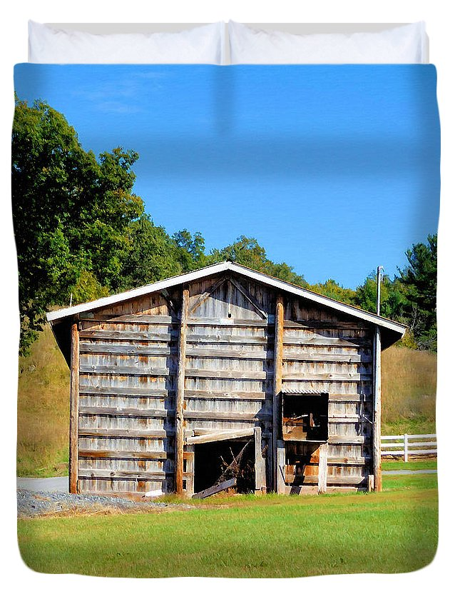 Old Wooden Barn Duvet Cover featuring the painting Old Wooden Barn by Jeelan Clark