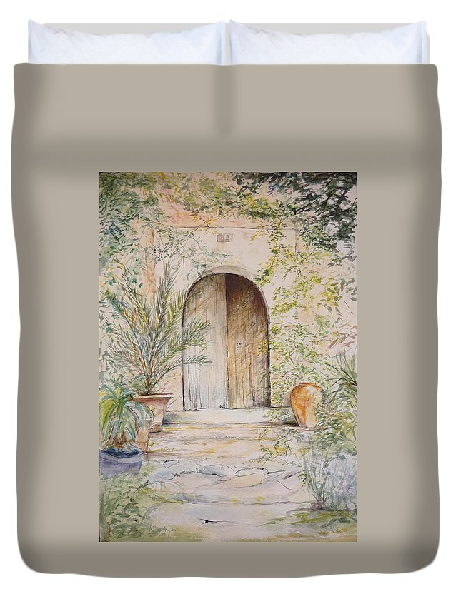Door Duvet Cover featuring the painting Old Wooden Door by Lizzy Forrester