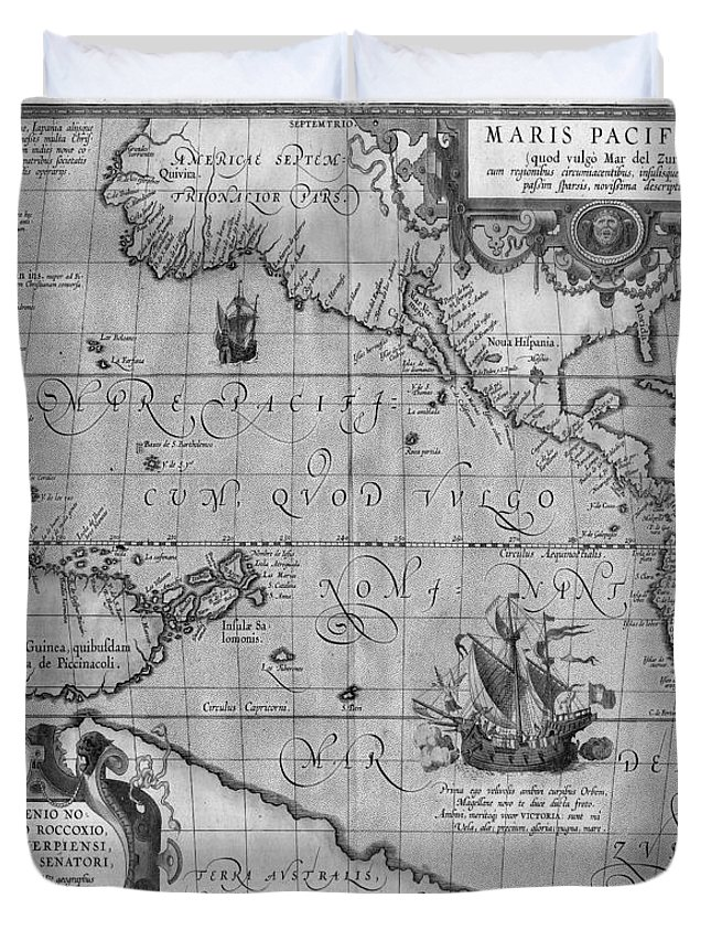 graphic about Vintage World Map Printable named Previous Worldwide Map Print Against 1589 - Black And White Duvet Protect