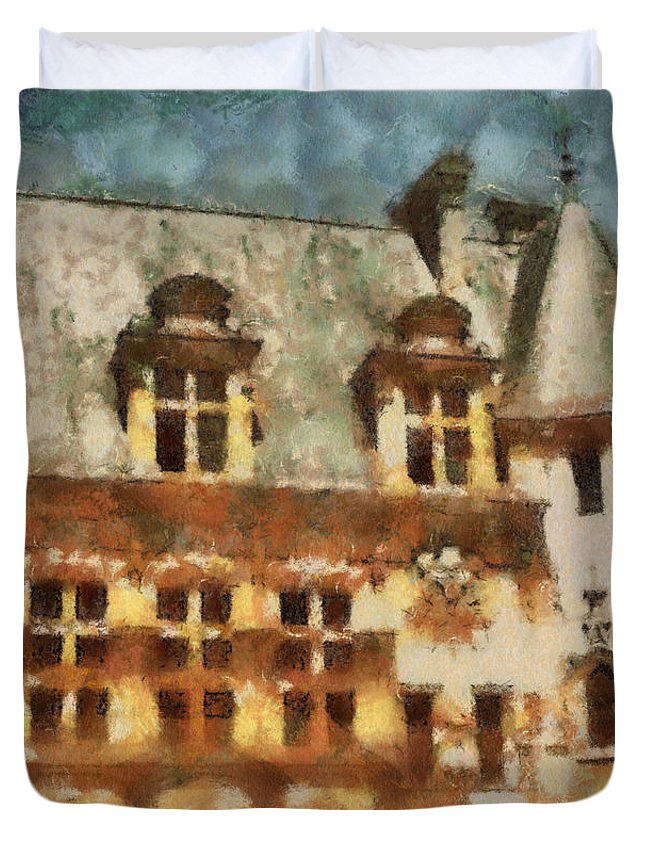 France Duvet Cover featuring the painting Old World by Paulette B Wright