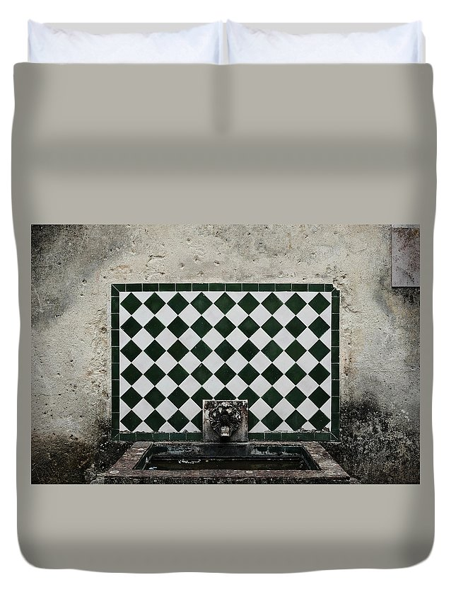 Stone Wall Fountain Duvet Cover featuring the photograph Old World Water Fountain by Marco Oliveira