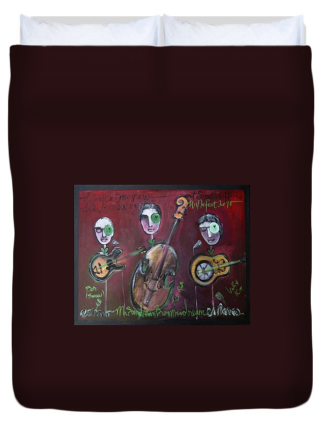 Live Painting Duvet Cover featuring the painting Olde Town Swing Band by Laurie Maves ART