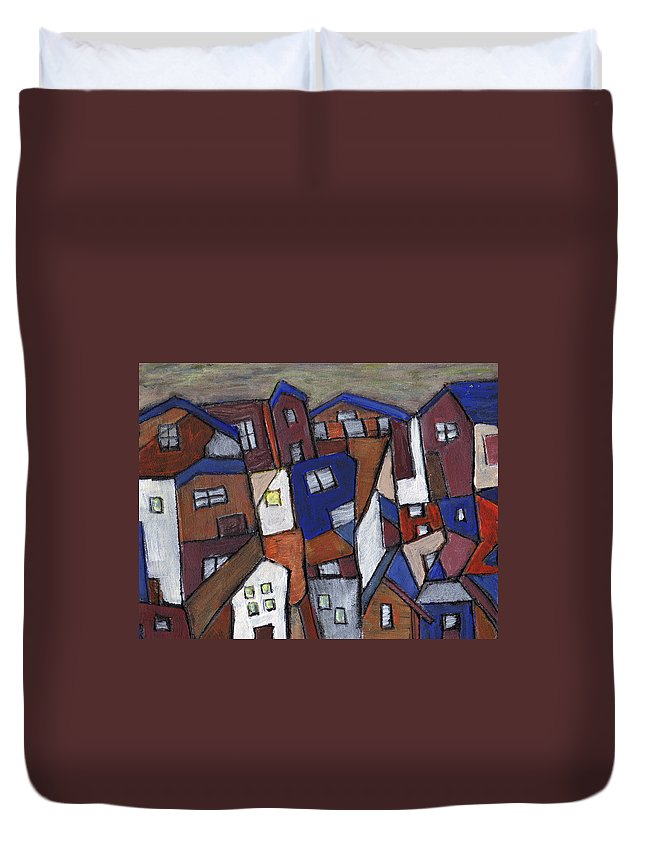 Urban Duvet Cover featuring the painting Olde Towne by Wayne Potrafka