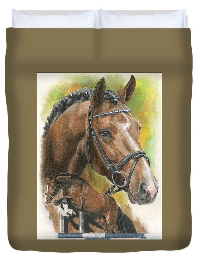 Hunter Jumper Duvet Cover featuring the mixed media Oldenberg by Barbara Keith