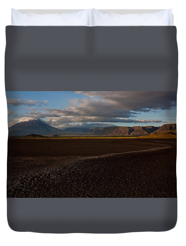 Landscape Duvet Cover featuring the photograph Oldonyo Lengai by Remy Simon