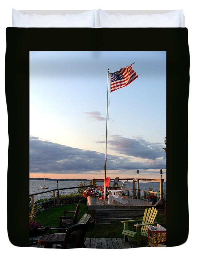Rossetti Point Duvet Cover featuring the photograph Ole Glory At Rossetti Point by Mark Holden