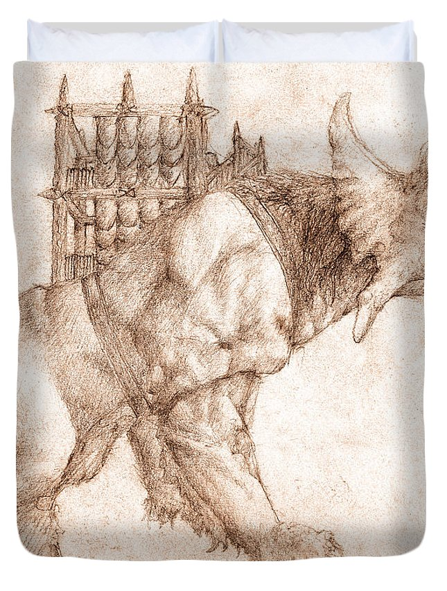Lord Of The Rings Duvet Cover featuring the drawing Oliphaunt by Curtiss Shaffer