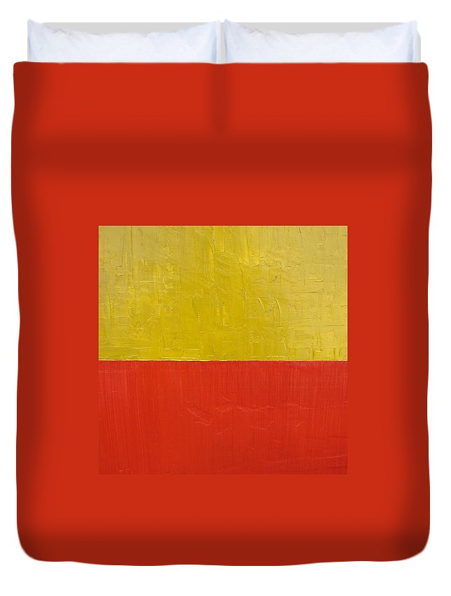 Red Duvet Cover featuring the painting Olive Fire Engine Red by Michelle Calkins