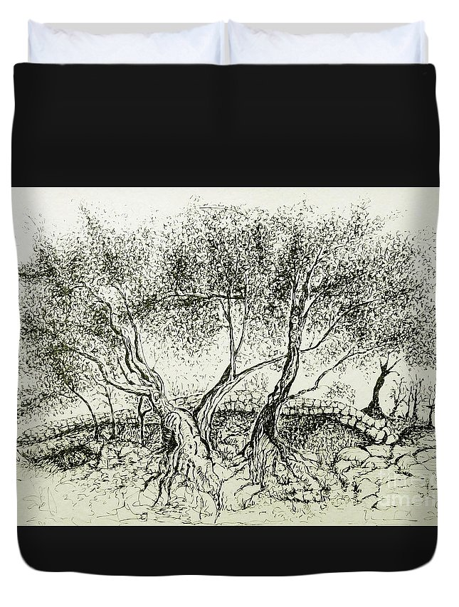 Olive Grove Duvet Cover featuring the drawing Olive Grove by Jasna Dragun