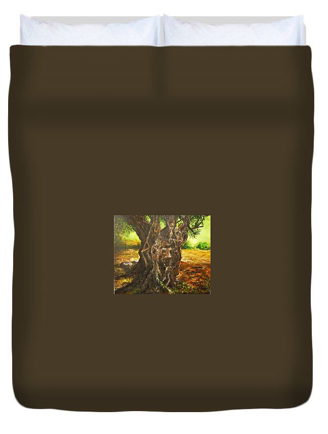Tree Duvet Cover featuring the painting Olive Tree Rooted 1 by Lizzy Forrester