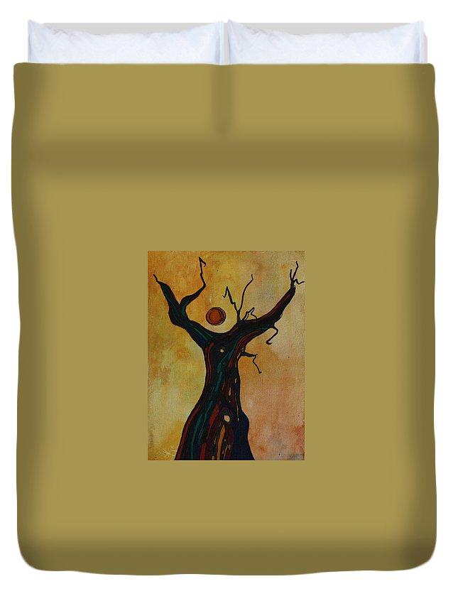 Abstract Duvet Cover featuring the painting Olive Tree Woman by Pat Purdy