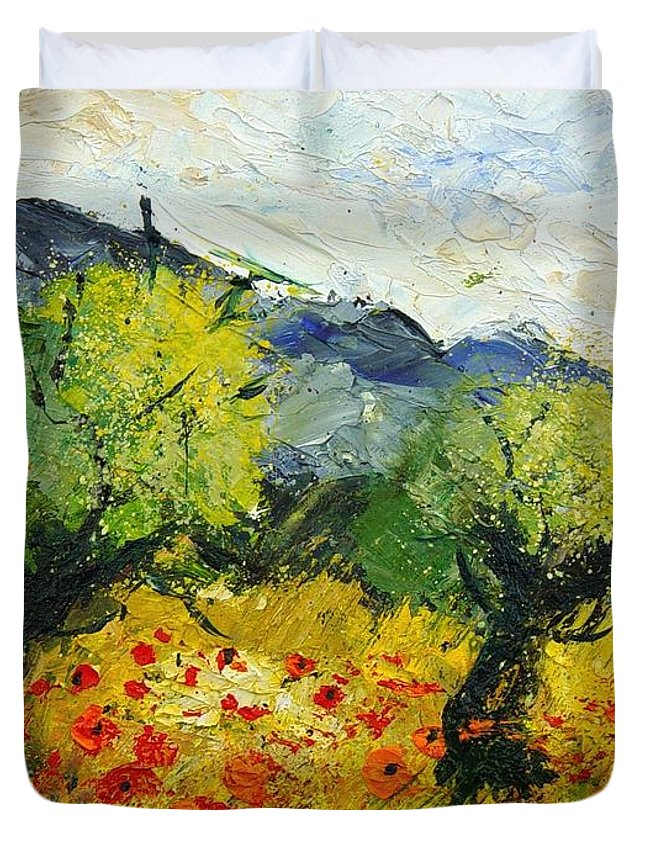Flowers Duvet Cover featuring the painting Olive Trees And Poppies by Pol Ledent