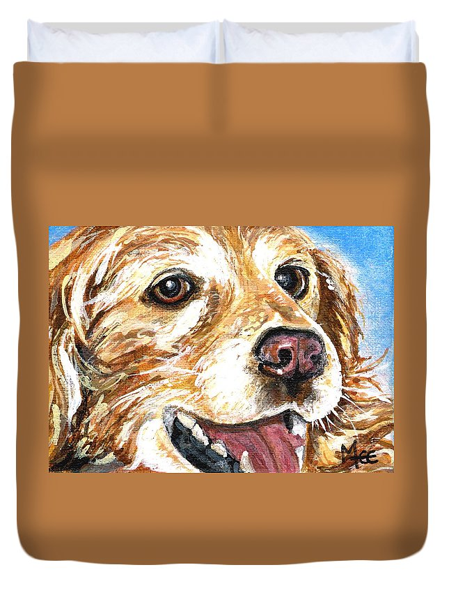 Charity Duvet Cover featuring the painting Oliver From Muttville by Mary-Lee Sanders